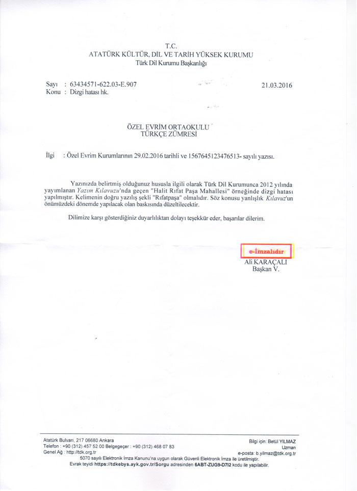 TDK tarafından okulumuza gönderilen resmi yazı